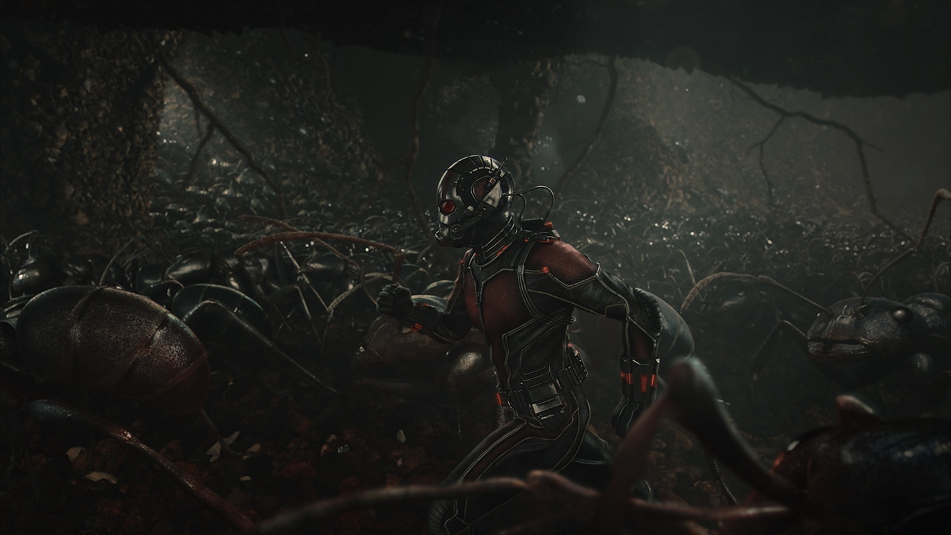 Ant-Man running with a colony of ants in the movie Ant-Man
