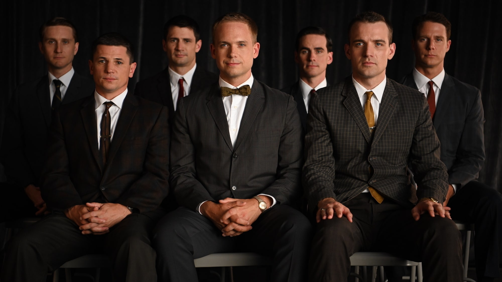 Back left to right: Aaron Staton as Wally Schirra, James Lafferty as Scott Carpenter, Colin O'Donoghue as Gordon Cooper, Jake McDorman as Alan Shepard. Front left to right: Michael Trotter as Gus Grissom, Patrick J. Adams as John Glenn and Micah Stock as D