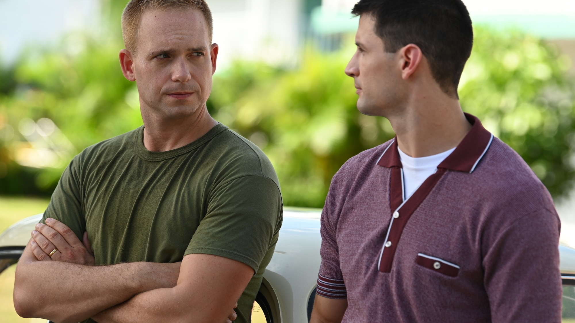 L to R: John Glenn played by Patrick J. Adams shares encouraging words with Scott Carpenter played by James Lafferty in National Geographic's THE RIGHT STUFF streaming on Disney+. (National Geographic/Gene Page)