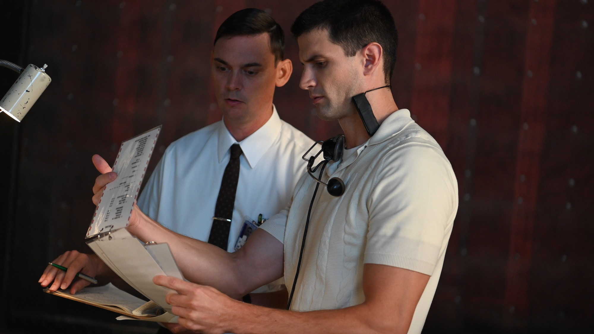 L to R: Joshua Ritter as Roy Hutmacher and James Lafferty as Scott Carpenter during training session in National Geographic's THE RIGHT STUFF streaming on Disney+. (National Geographic/Gene Page)