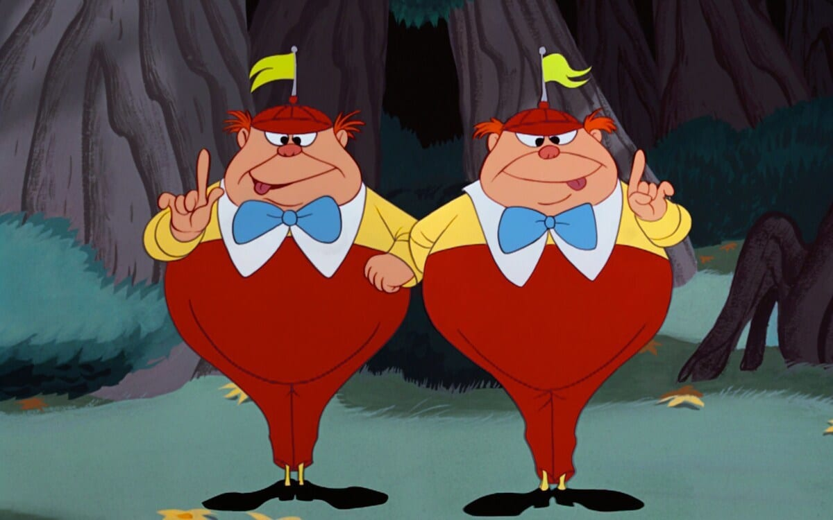 "Tweedle-Dee and Tweedle-Dum from the animated movie ""Alice in Wonderland"""