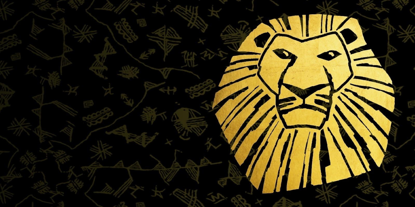 An icon image of Mufasa in gold over a black background