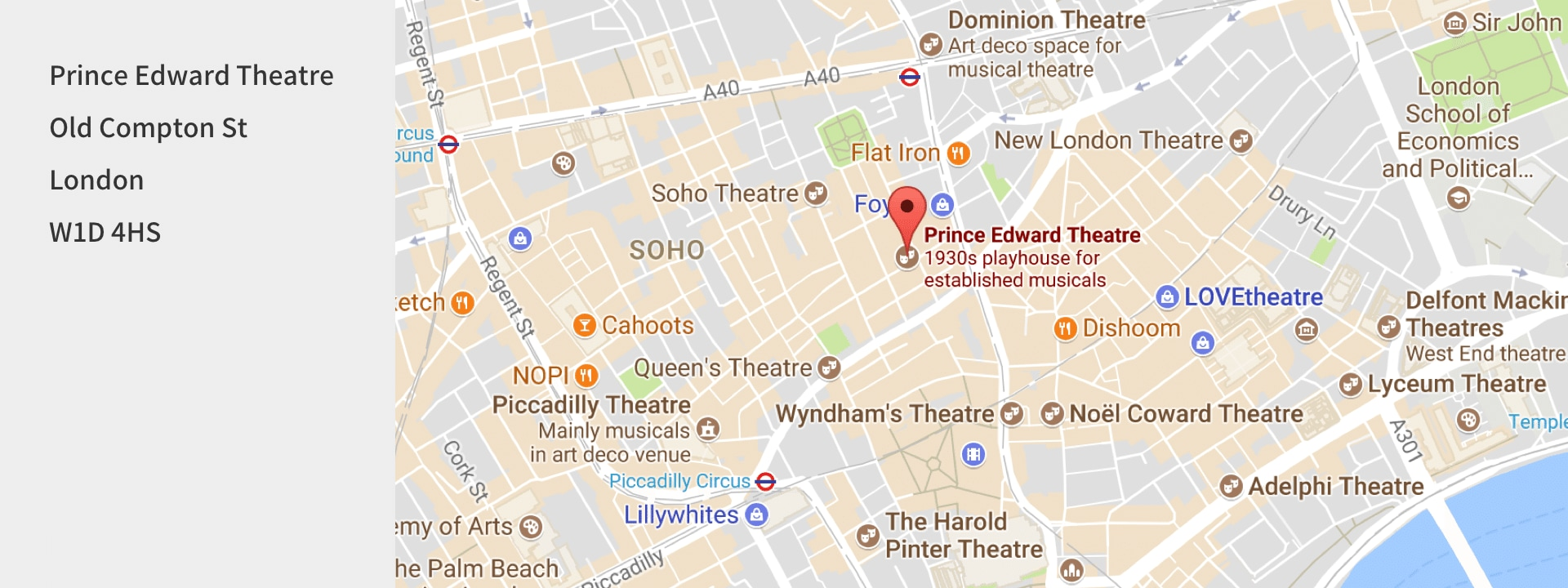 Street map of the Prince Edward Theatre in London