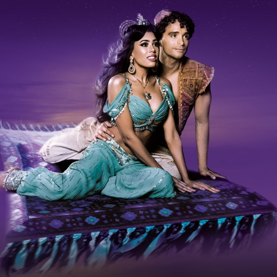 Close-up of Aladdin and Jasmine on a flying carpet from Aladdin the Musical, London