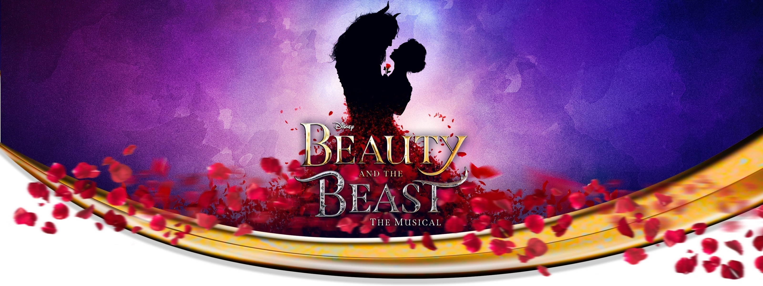 Beauty and the Beast silhouette with petal decoration
