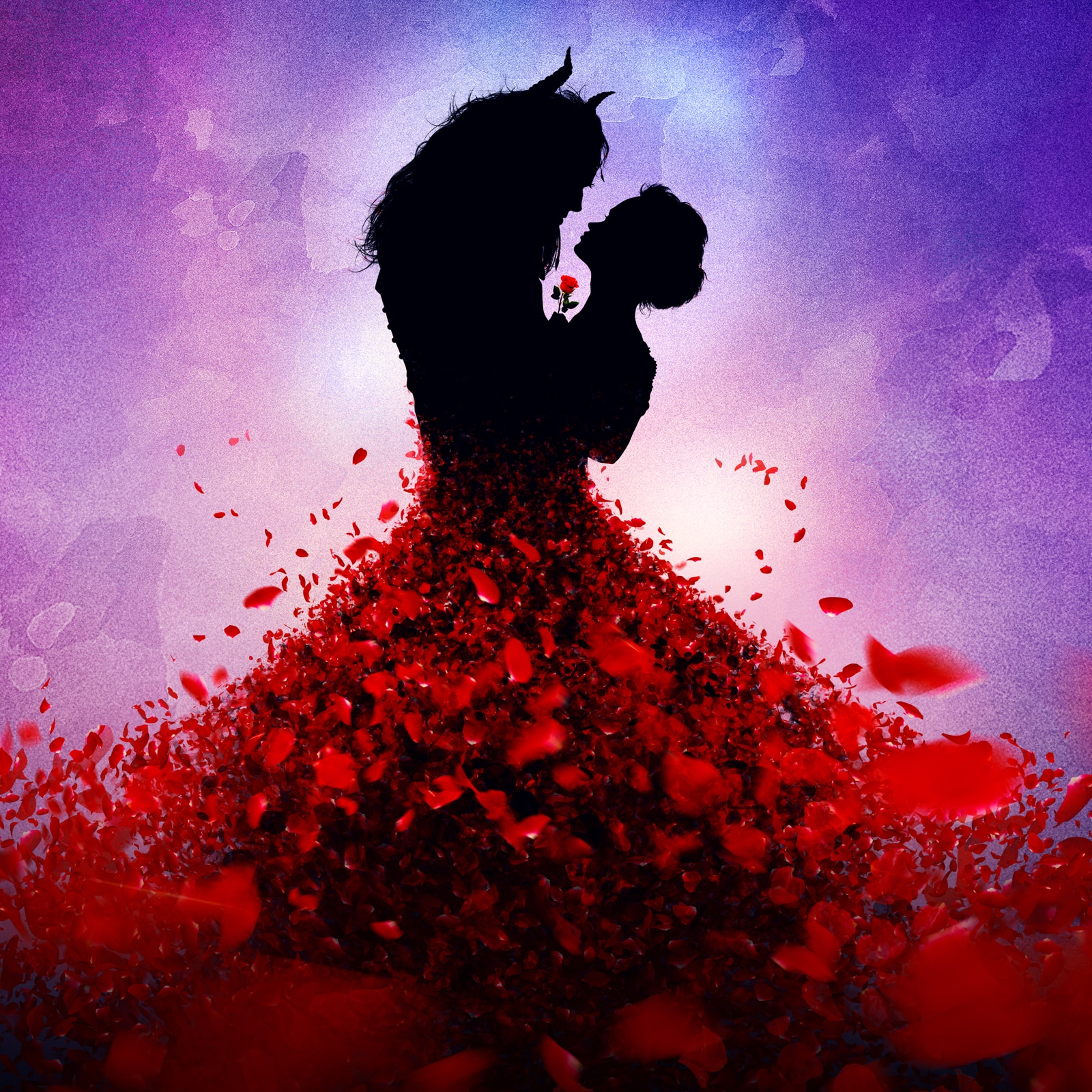 Silhouette of Belle and the Beast dancing, with rose petals on Belle's dress