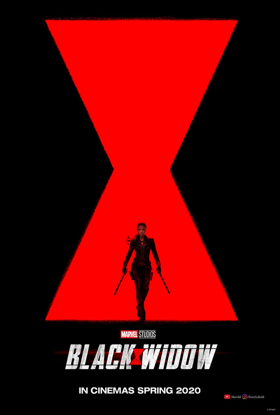 Silhouette of Black Widow in front of the logo
