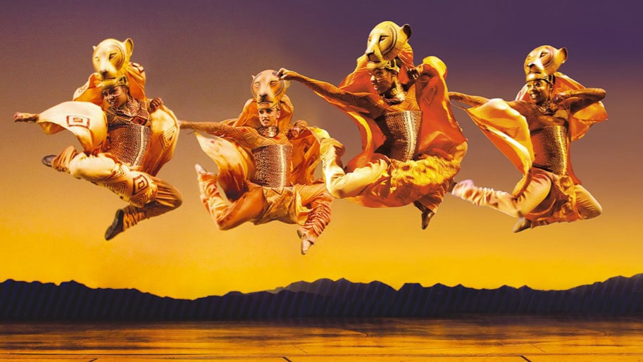 Leaping Lionesses performing in the London stage show The Lion King