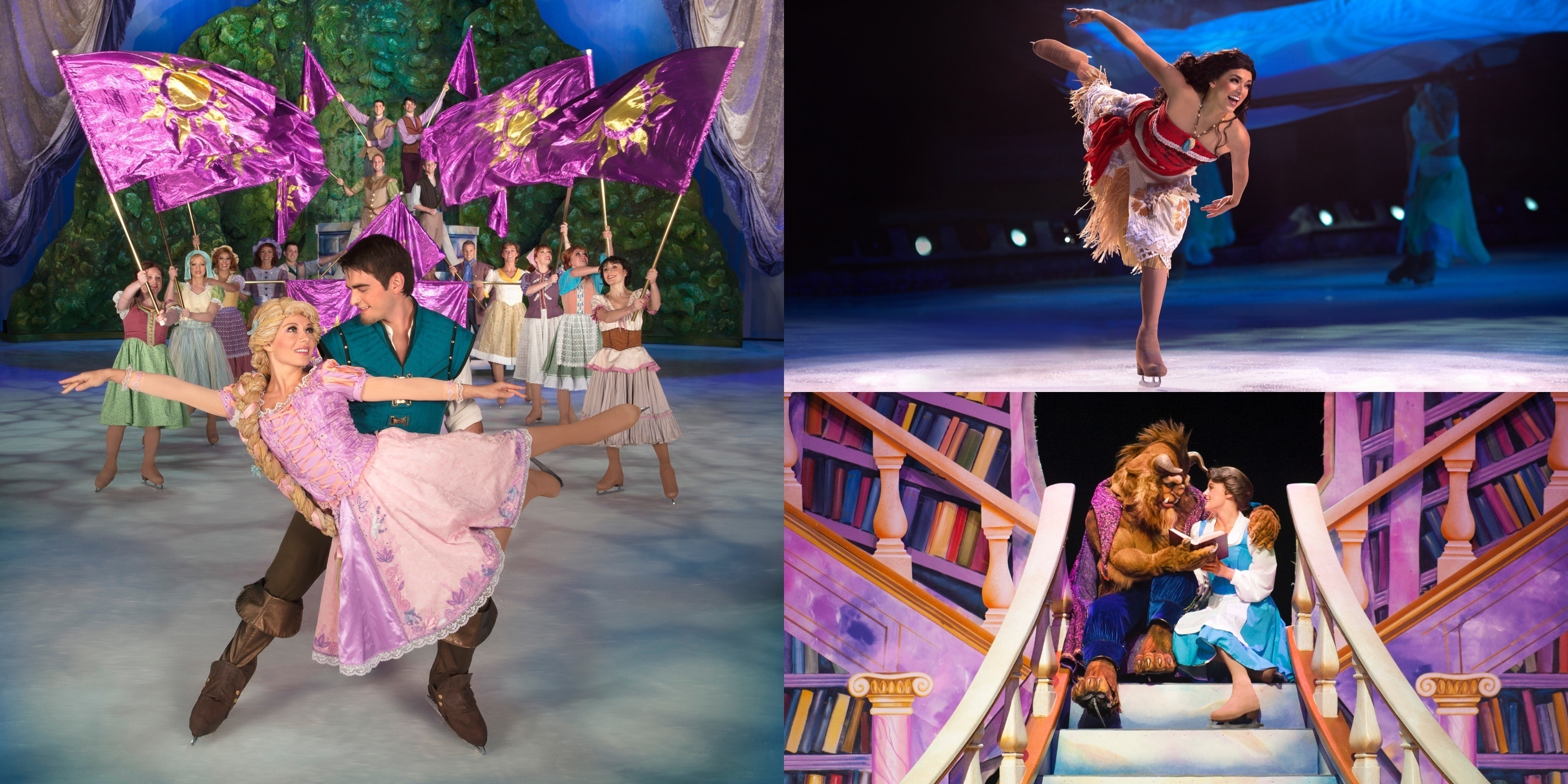 A collage of images from various Disney on Ice performances