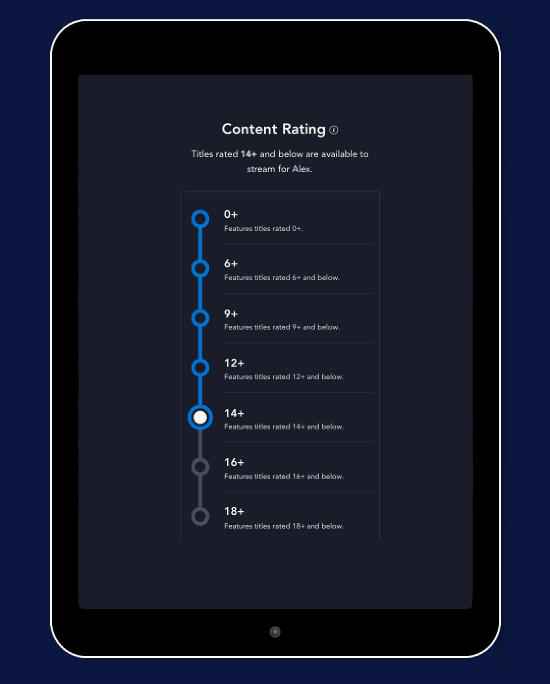 The Disney+ content rating screen in profile settings