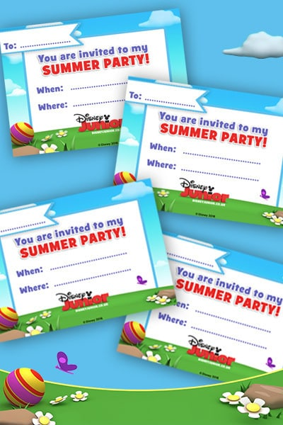 Zaproszenie na wakacyjne przyjęcie Disney Junior