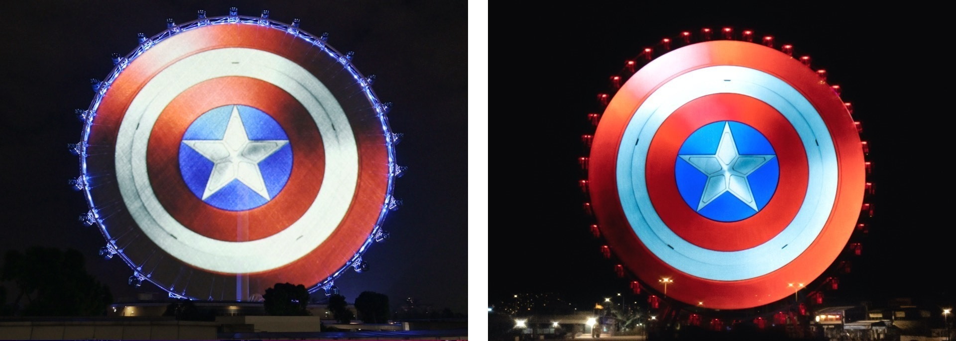 A projection mapping of the shield onto the Singapore Flyer, Singapore and La Grande Roue de Marseille, Marseille, France