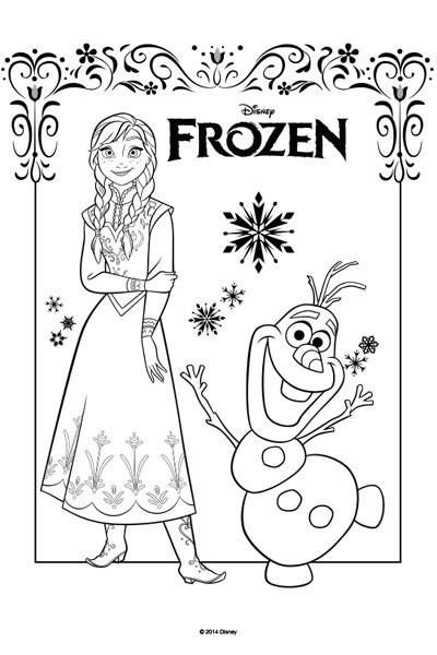 Kleurplaat Anna en Olaf