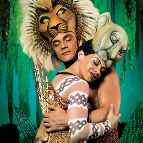 Close-up of Simba and Nala from the Lion King Musical