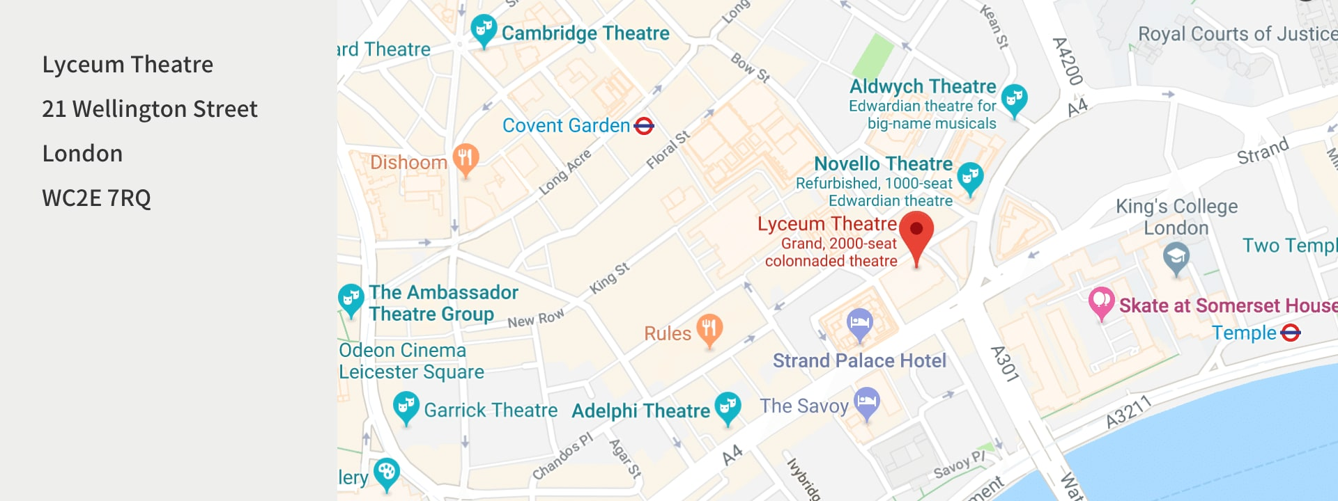 Street map of the Lyceum Theatre in London