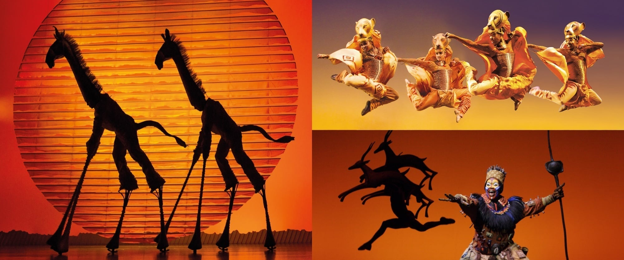Stills from the The Lion King stage show featuring giraffes, Rafiki and the Lionesses hunt