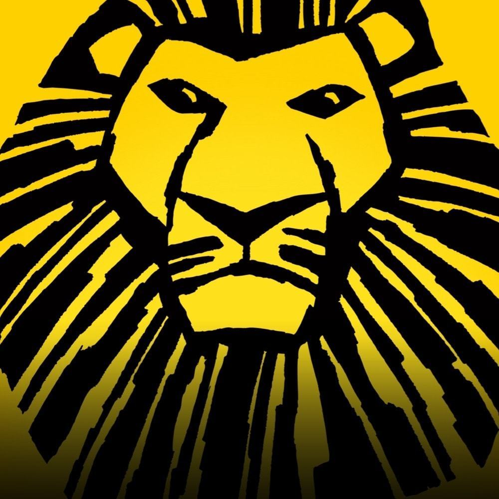 An icon image of Mufasa in black over a yellow background