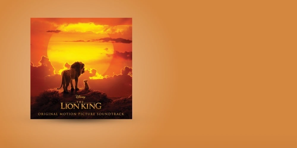 The Lion King soundtrack cover on an orange background