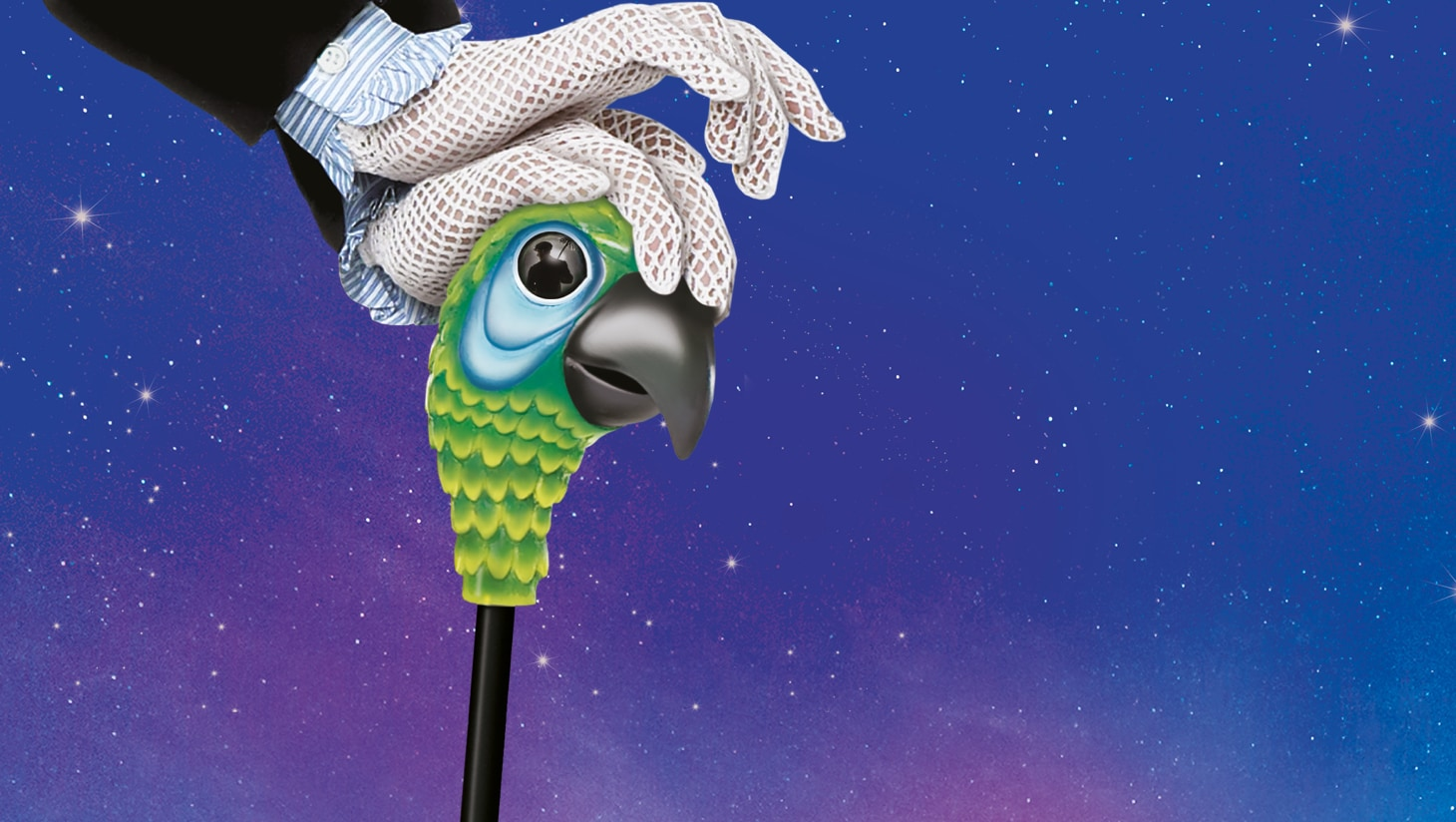 Mary Poppins parrot handled umbrella against a backdrop of the night sky