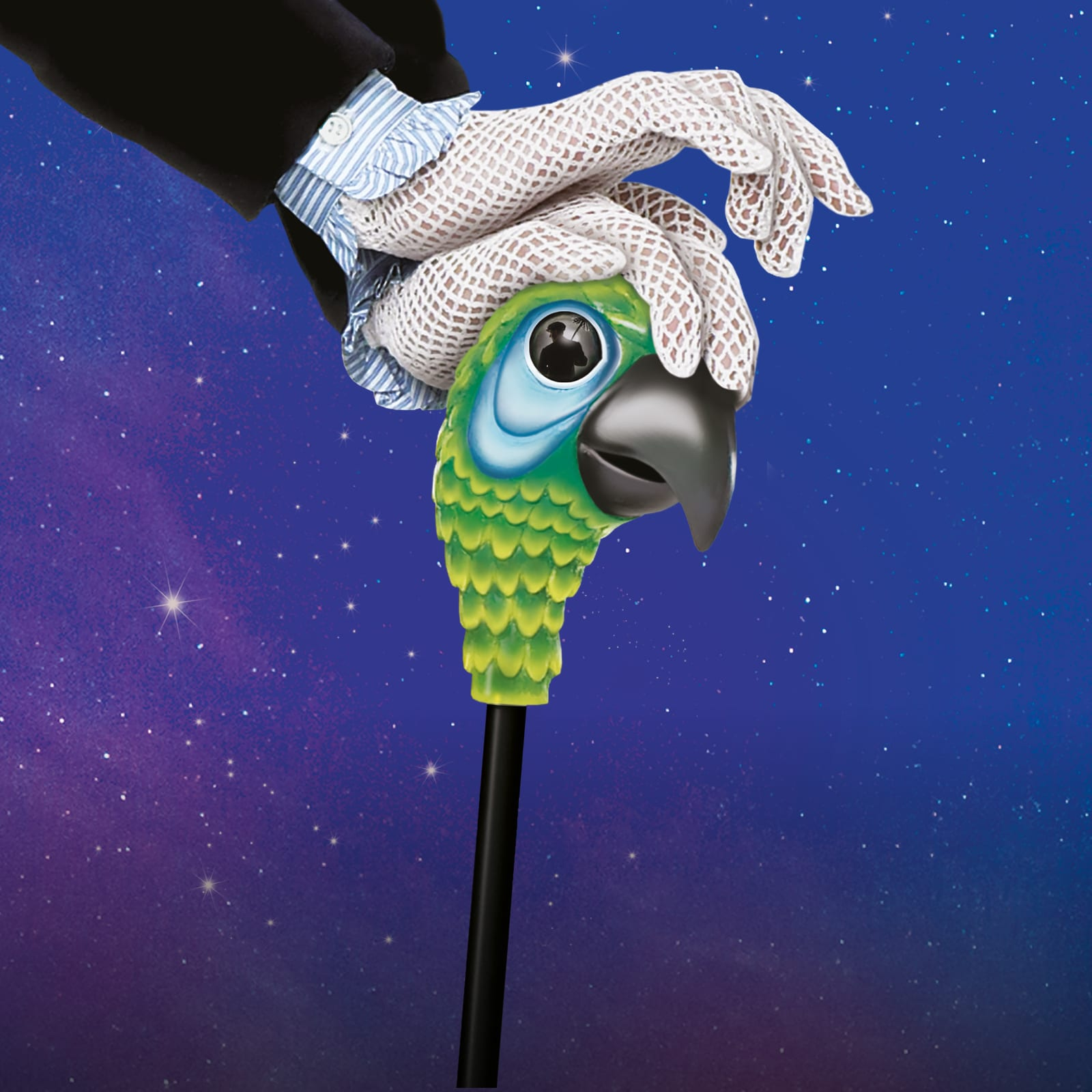 Mary Poppins' gloved hands holding a stick with a green parrot on it