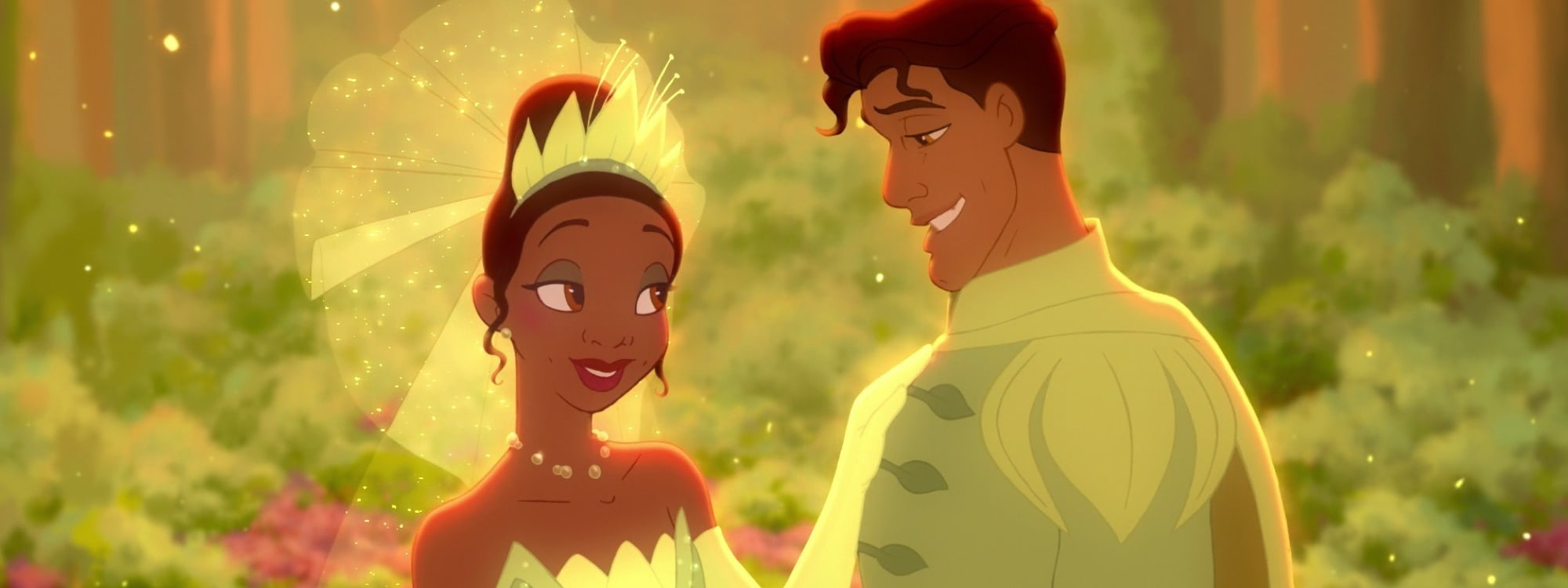 Princess Tiana and Prince Naveen looking at each other