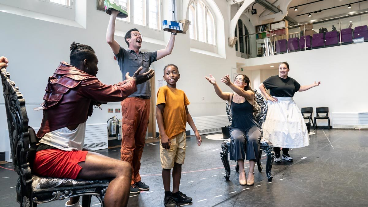 Emmanuel Kojo as Beast, Gavin Lee as Lumiere, Theo Querico as Chip, Courtney Stapleton as Belle and Sam Bailey as Mrs Potts in a scene from Beauty and the Beast.