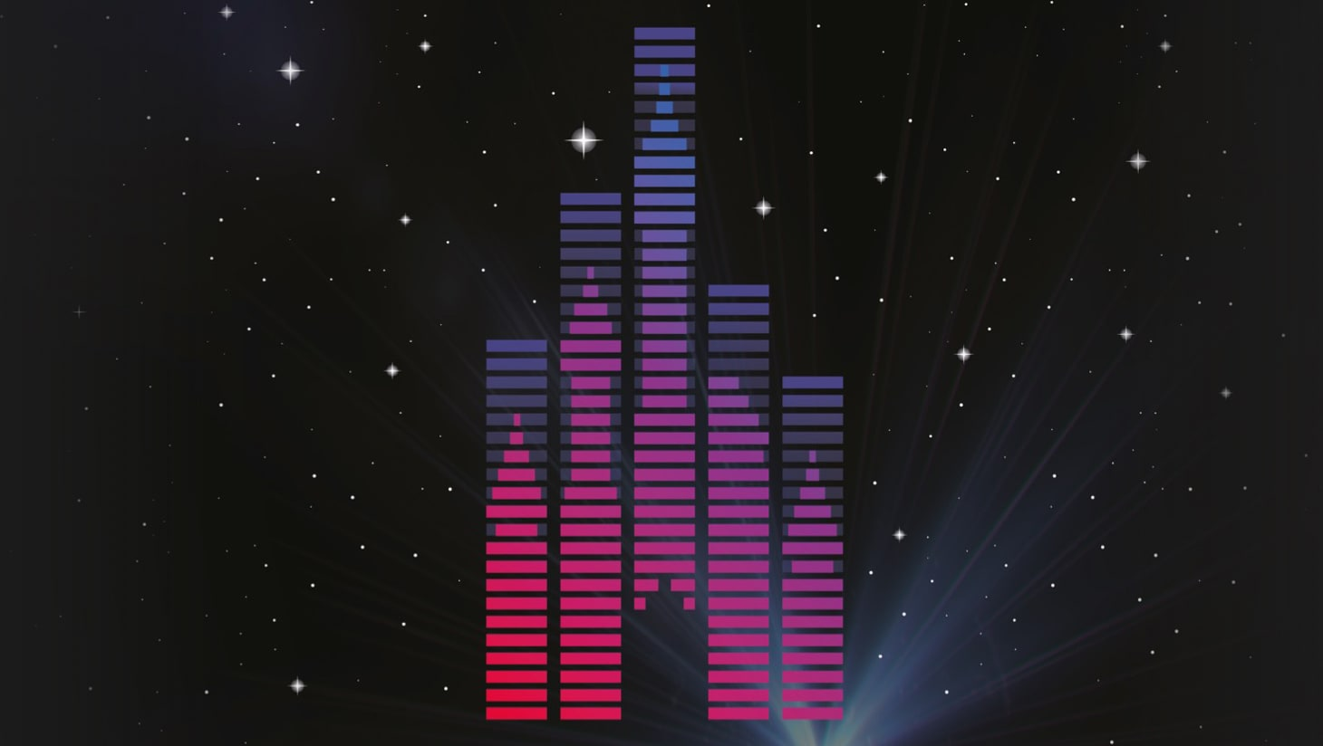 A silhouette of Cinderella's castle projected onto music levels with a starry night sky in the background