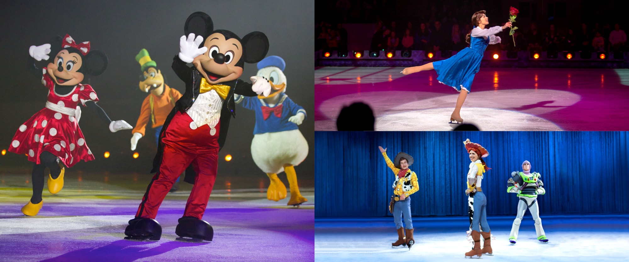 3 images of Mickey Mouse and friends, Belle from Beauty and the Beast and Woody Jessie and Buzz from Toy Story.