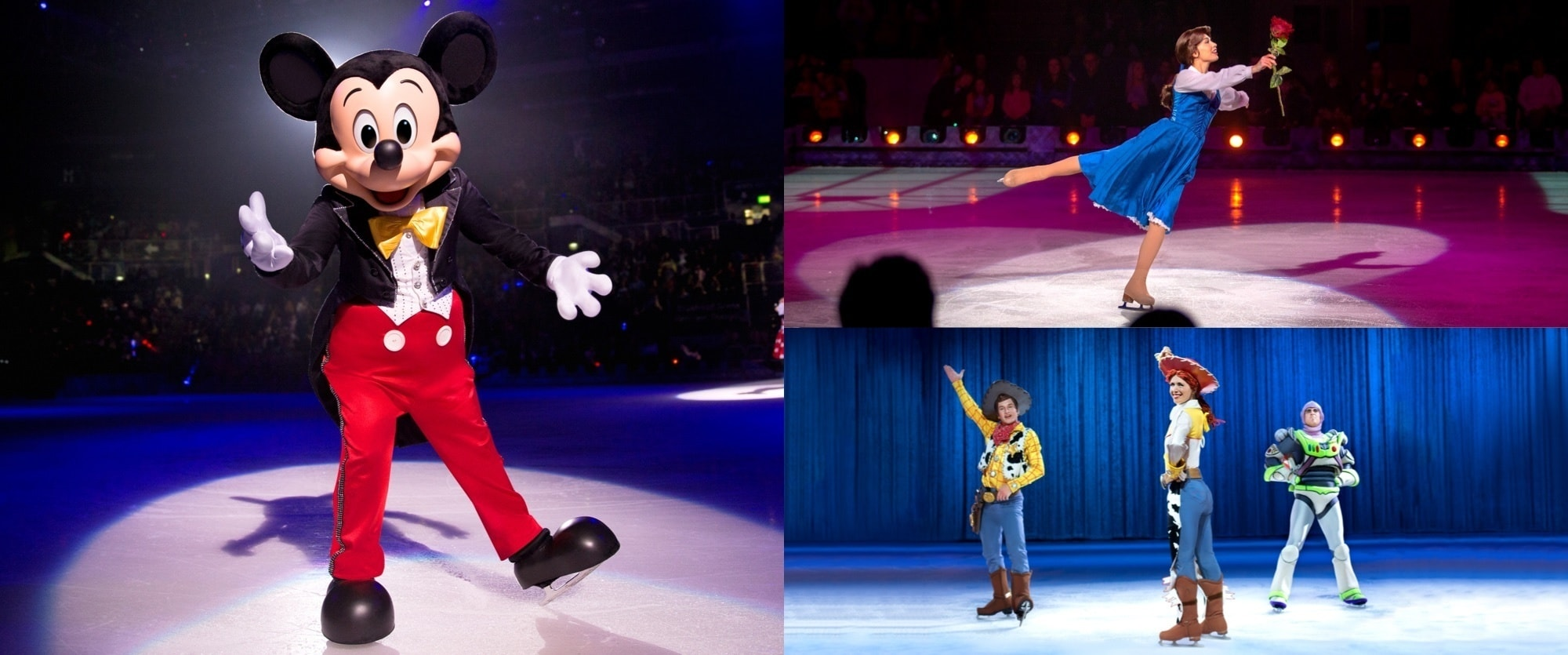 3 images of Mickey Mouse, Belle from Beauty and the Beast and Woody Jessie and Buzz from Toy Story.