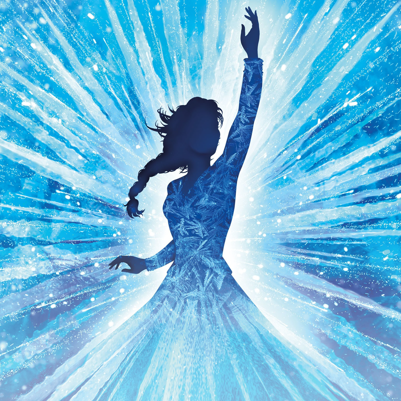 Silhouette of Elsa holding her arm up, with blue icicles surrounding her