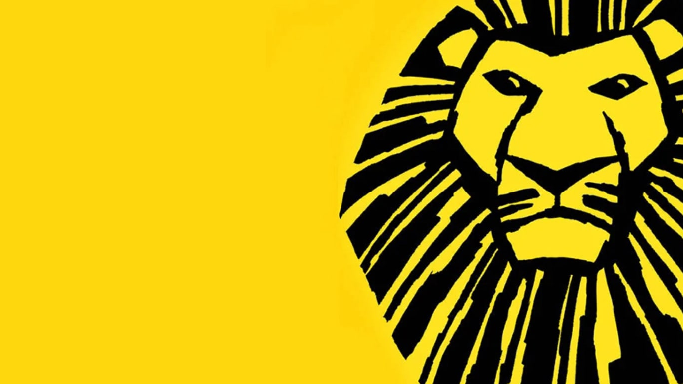 Black outline drawing of a lion on a yellow background