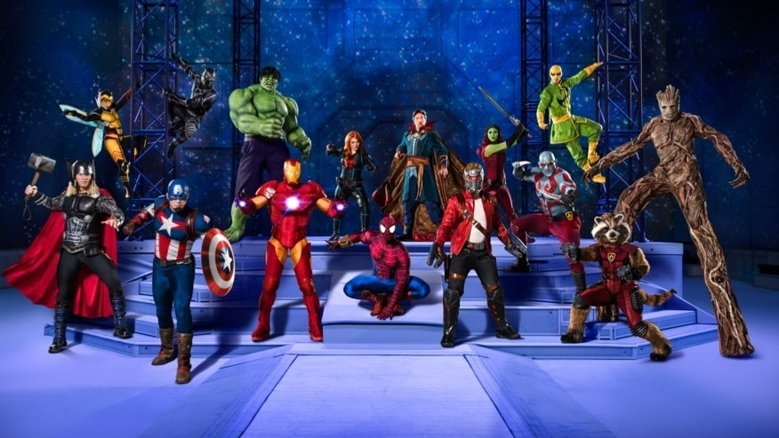 Group shot of Black Panther, Hulk, Iron Man and other Marvel characters