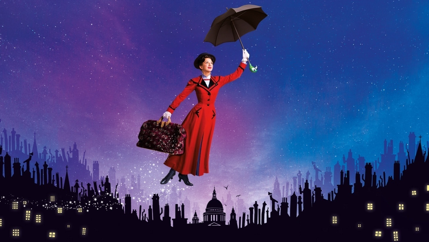 Mary Poppins flying with her umbrella with a silhouette of the town in the background and a colourful galaxy sky