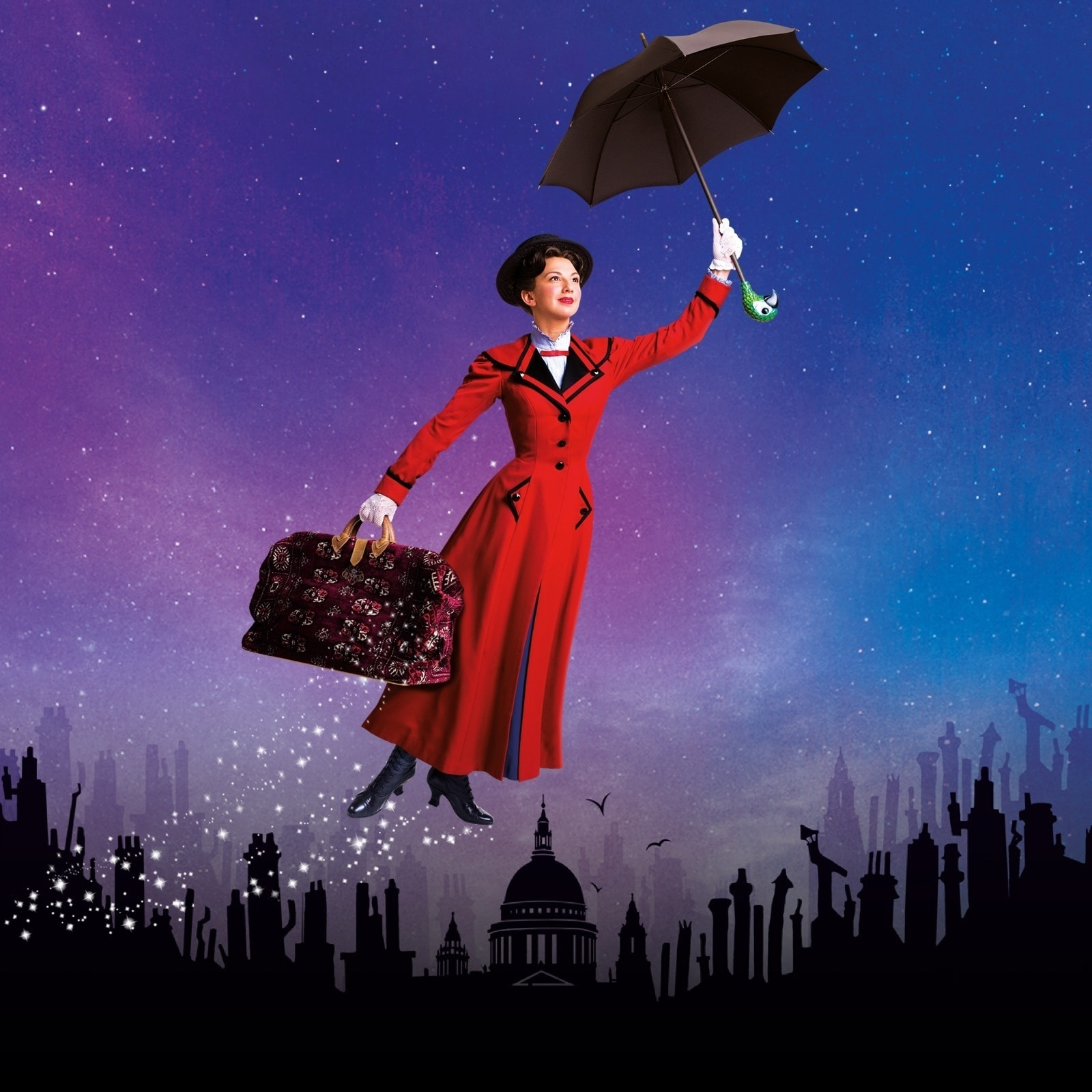 Mary Poppins flying over a town made up of silhouettes
