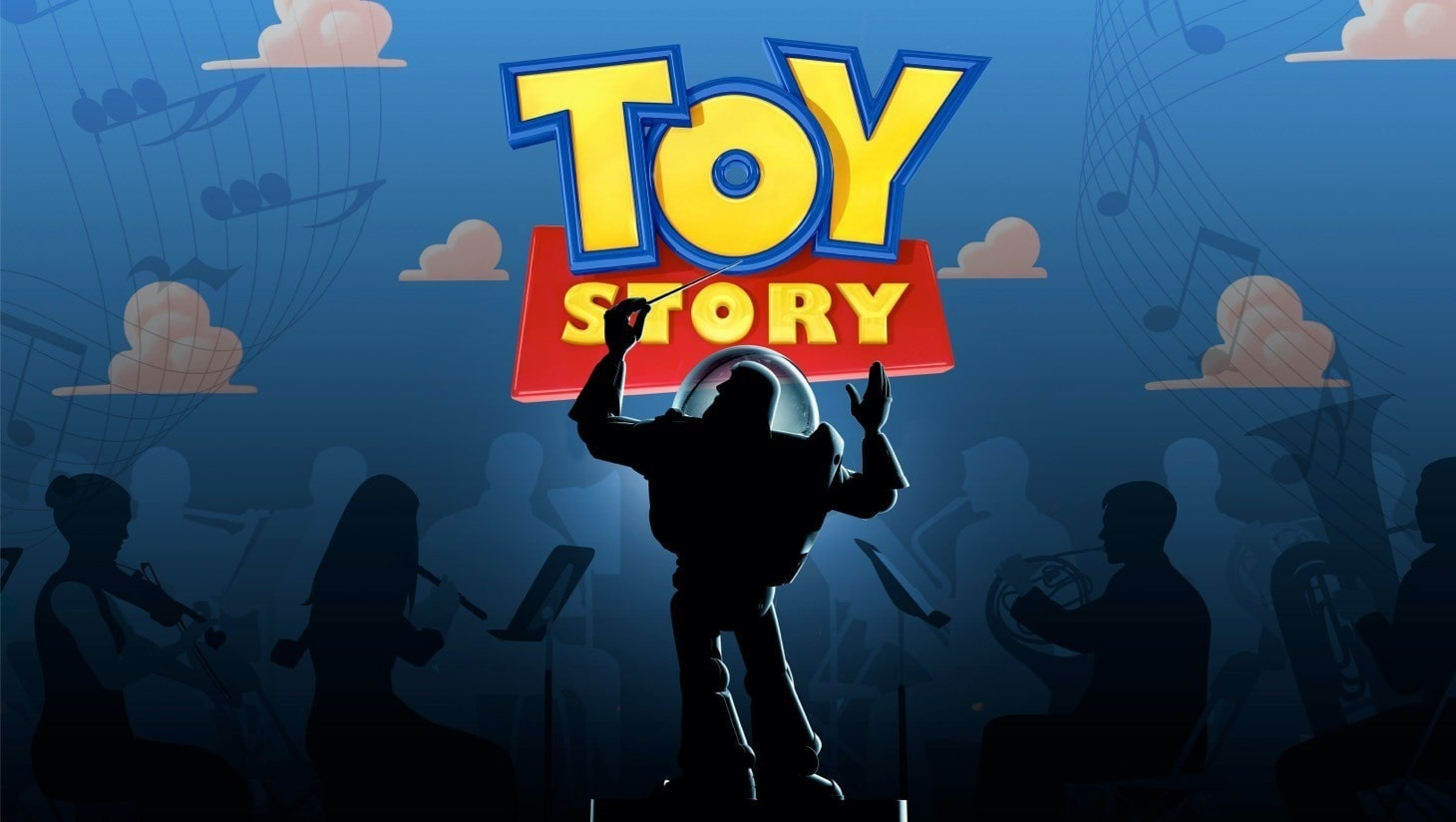 Toy Story in Concert poster with Buzz Lightyear conducting