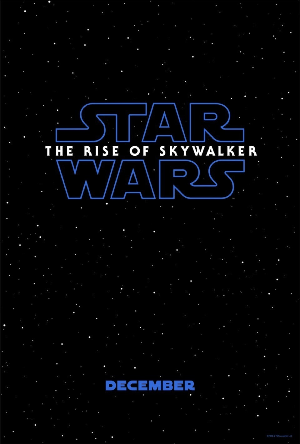 Poster featuring a black sky with white stars and the Star Wars: The Rise of Skywalker logo