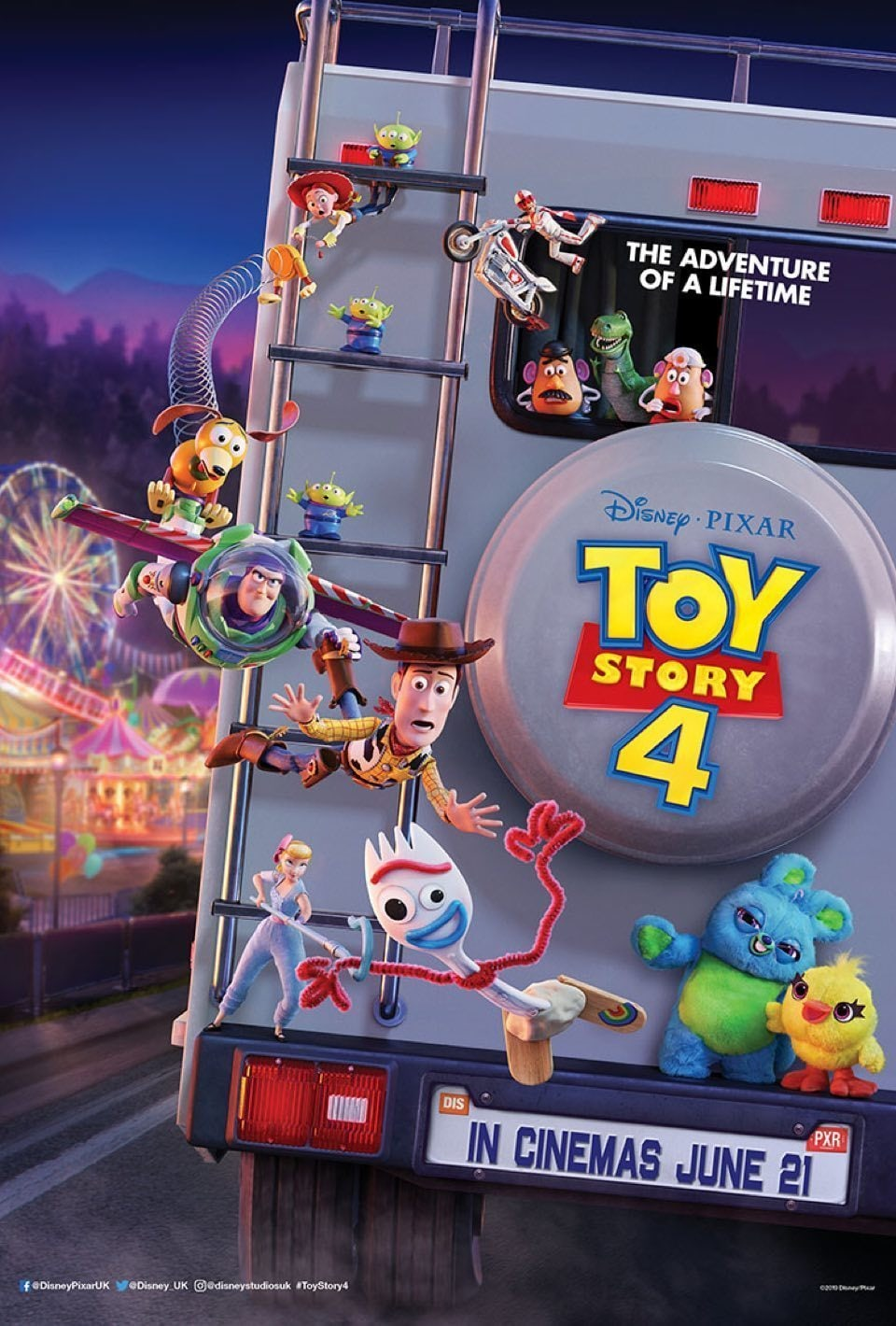 Forky, Woody and Buzz hanging from a ladder on the back of Bonnies RV.