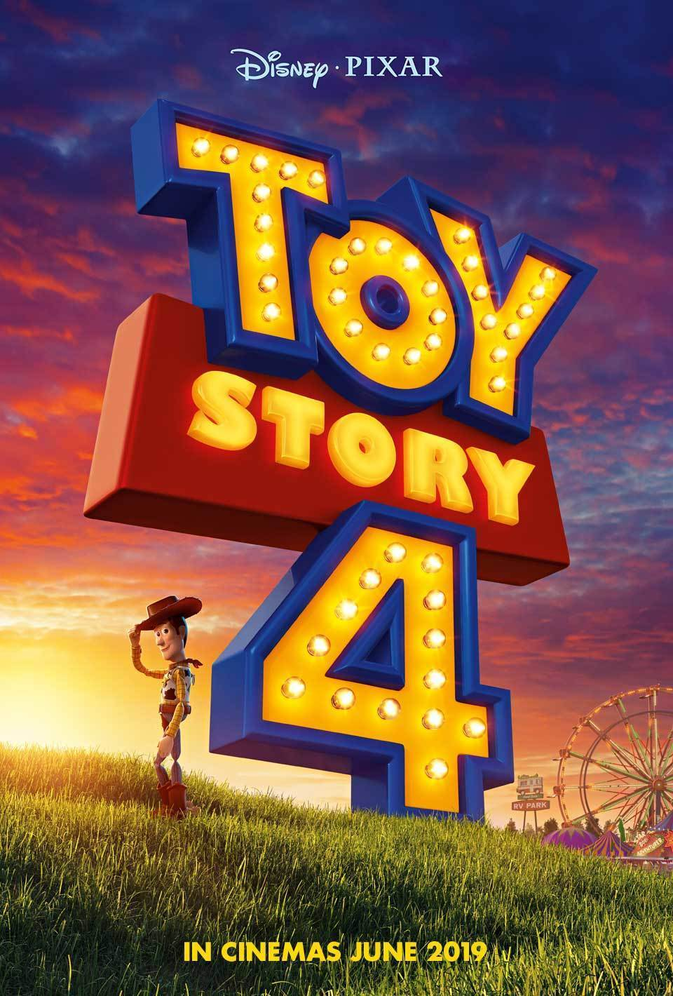 Toy Story 4 Poster with Woody standing on a hill