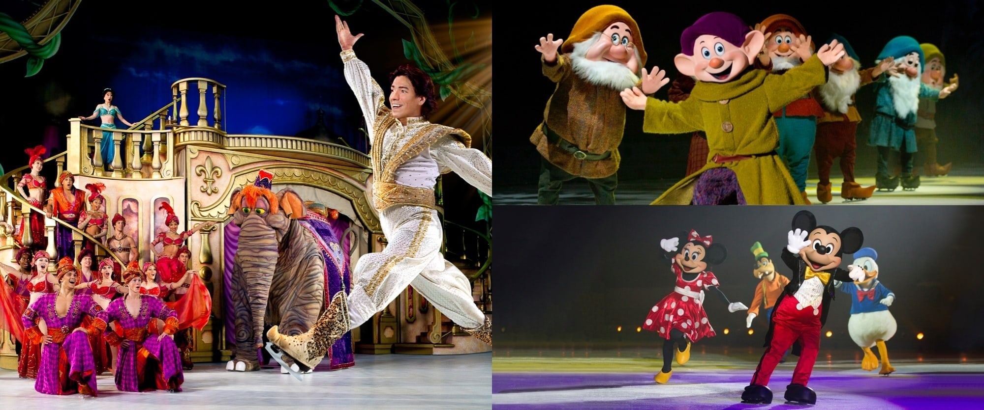 Images of Aladdin, Mickey and the seven Dwarves from The Wonderful World of Disney On Ice