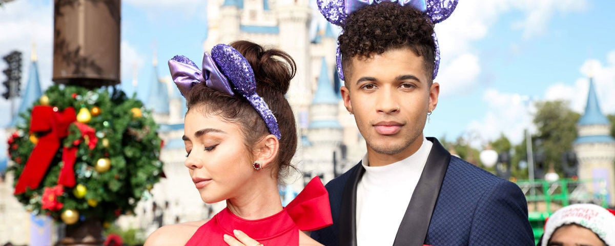 Sarah Hyland and Jordan Fisher sporting the Purple Potion Minnie Ears