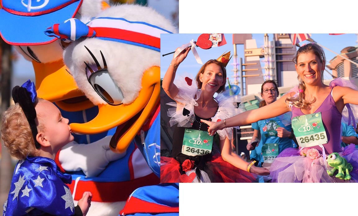 Child kissing Daisy Duck at Disneyland Paris Magic Run, Ladies dressed in various Disney Inspired costumes