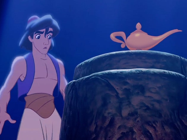 Aladdin first sets eyes on the lamp.