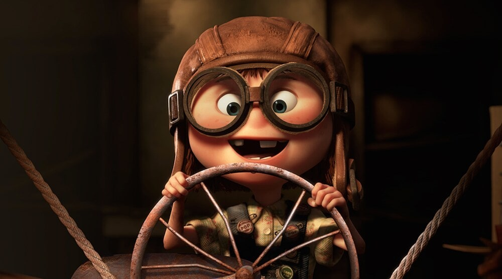 "Young Ellie pretending to fly a plane in the animated movie ""Up"""