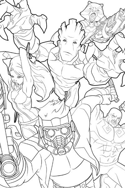 guardians of the galaxy coloring page - Marvel Coloring Pages
