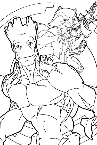 rocket and groot coloring page - Marvel Coloring Pages