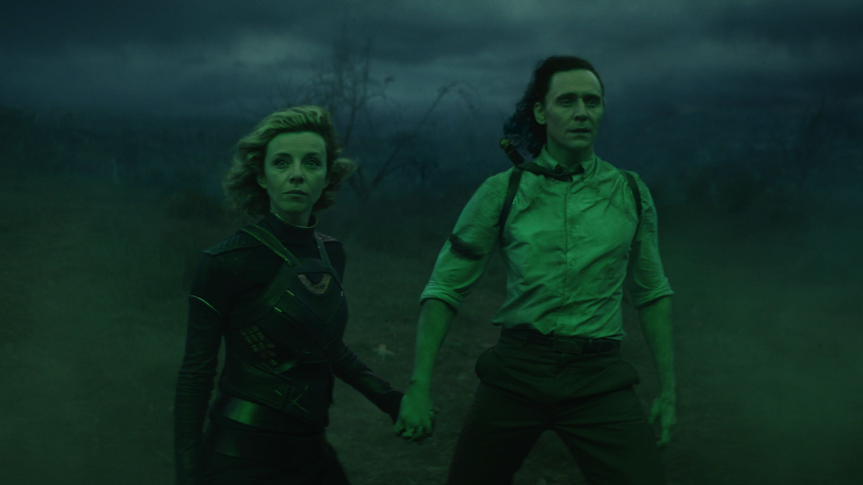 (L-R): Sylvie (Sophia Di Martino) and Loki (TomHiddleston) in Marvel Studios' LOKI, exclusively on Disney+. Photo courtesy of Marvel Studios. ©Marvel Studios 2021. All Rights Reserved.
