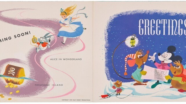 Card cover: Season's Greetings, Image of Alice standing on Alice in Wonderland book while Mickey, Minnie, Pluto, and Donald watch. On Back: Peter Wendy John and Michael fly towars tinkerbell as she approaches Nanny (Dog)