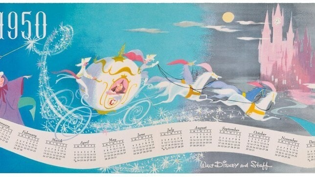 inside of 1949 card featuring The Fairy God mother Cinderella in her white carriage being led by white horses towards a Pink castle