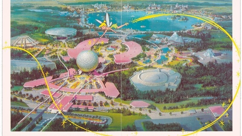 Joy from the world Tinker bell drawn over landscape of Walt Disney world