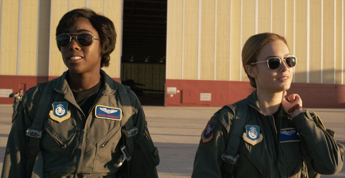 Lashana Lynch as Maria Lambeau and Brie Larson as Carol Danvers in Captain Marvel